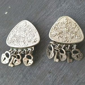 Vintage Silvertone Locks and Keys Clip Earrings